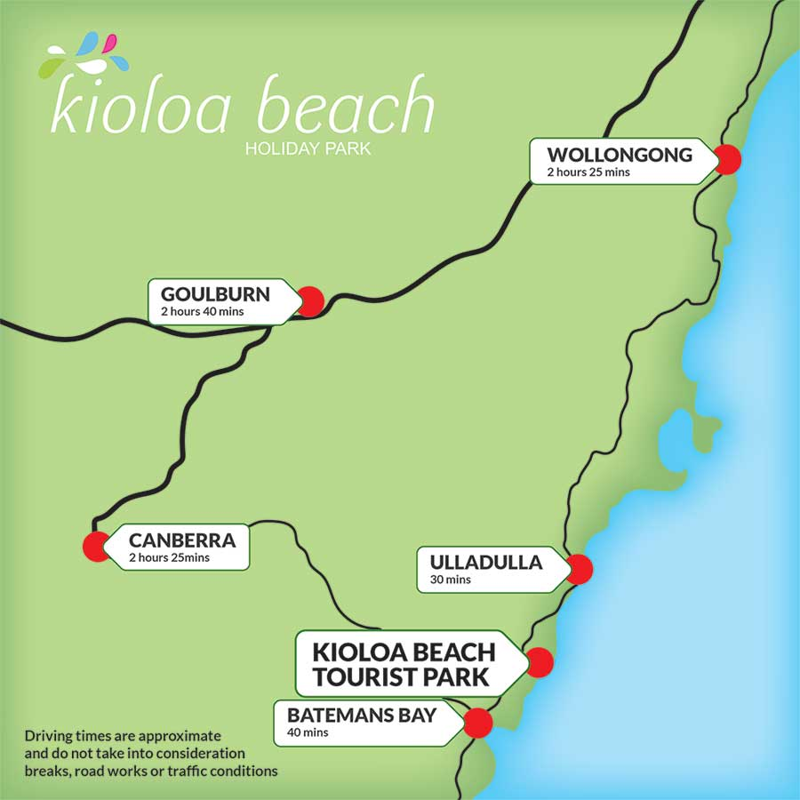 kioloa beach distance map